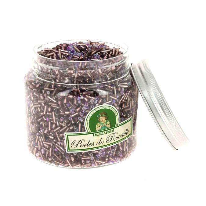 Perles de rocaille assorties violet 400g