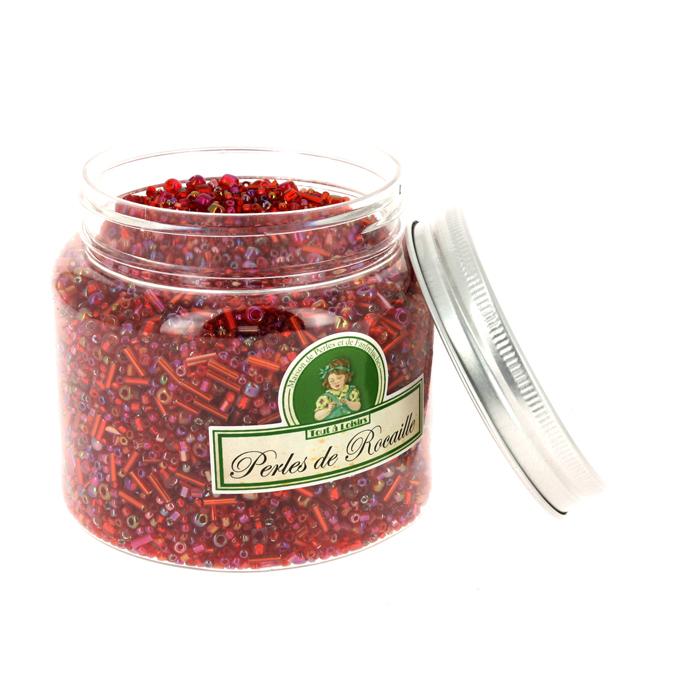 Perles de rocaille assorties rouge 400g