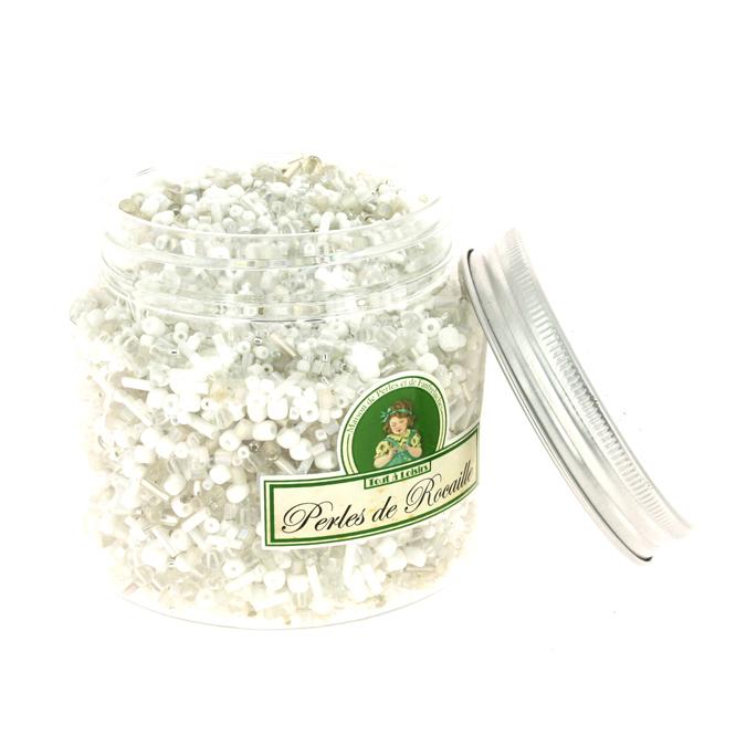 Perles de rocaille assorties blanc 400g
