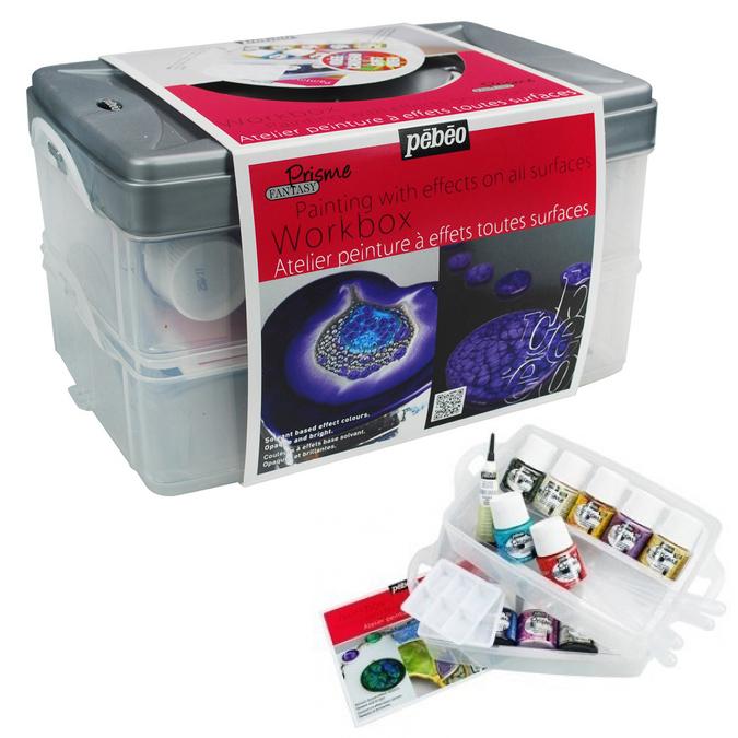 Coffret atelier peinture à effets Fantasy Prisme 10 flacons 45 ml et accessoires