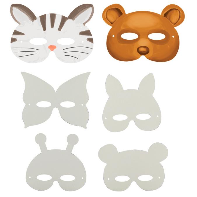 Masque animaux en carton blanc par 12