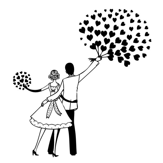 Tampon mariés et coeurs