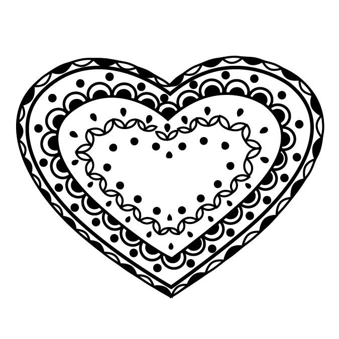 Tampon coeur zentangle