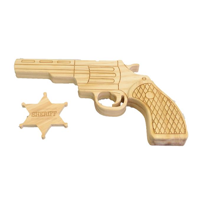 Pistolet + étoile de shérif en bois