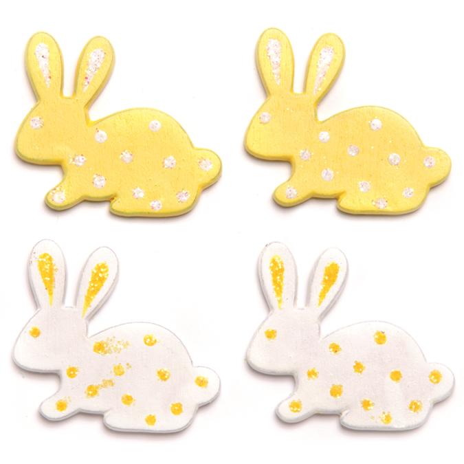 Lapins pour décoration pailleté jaune et blanc par 9