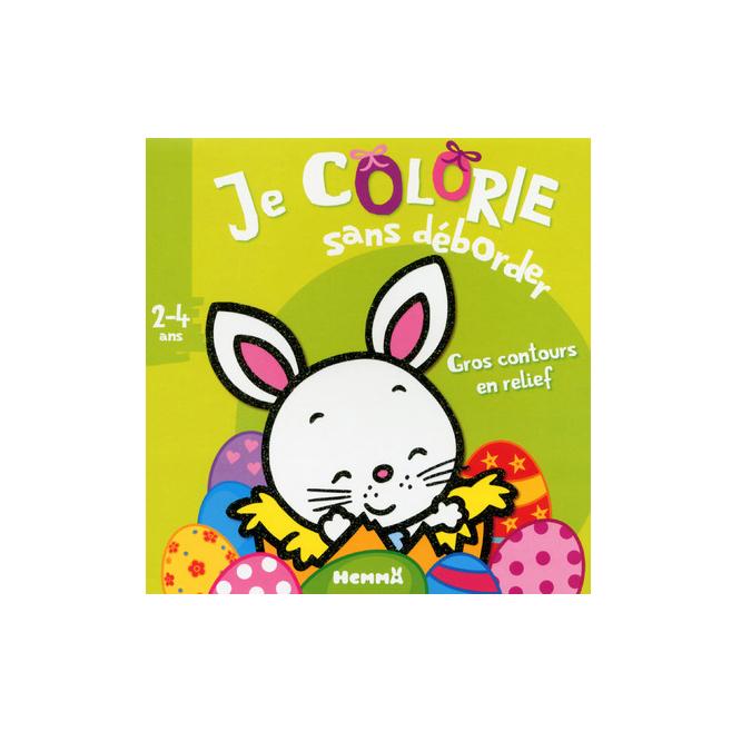 Livre Je colorie sans déborder - Lapin-fond vert