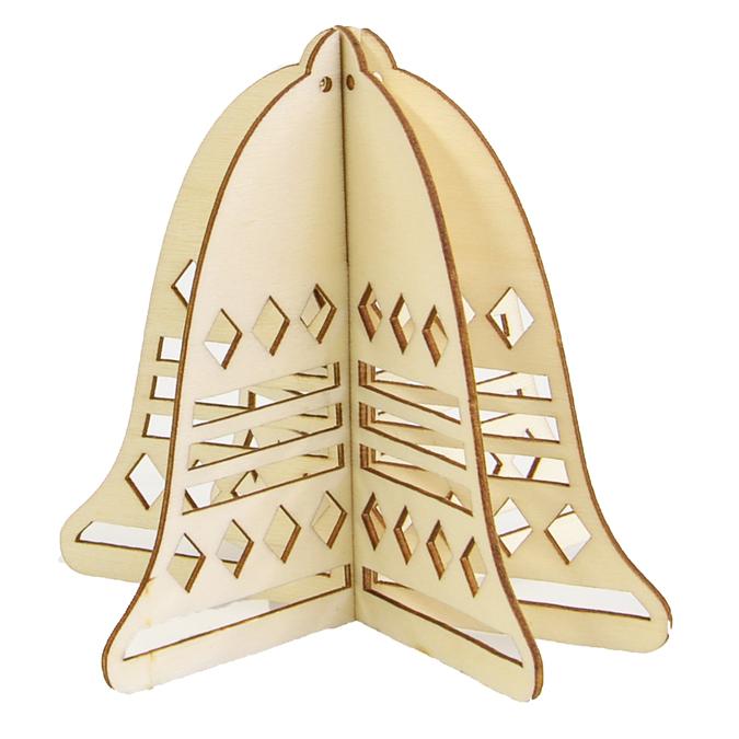 Silhouette de cloche 3D en bois