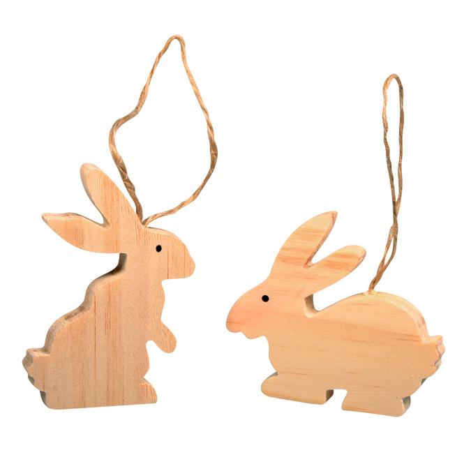Lapins en bois à décorer et suspendre 5 - 7 cm par 2