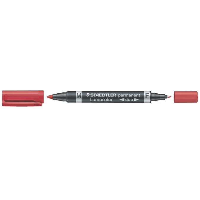 Marqueur permanent Lumocolor Duo 348 Rouge