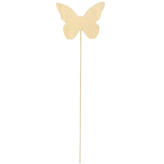 Papillon en bois sur tige à planter 30 x 9 cm par 3