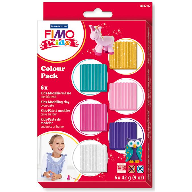 Pâte polymère 6 couleurs thème fille