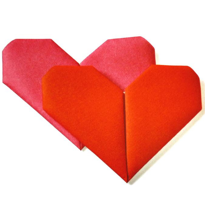Serviettes origami coeur rouge rose par 12