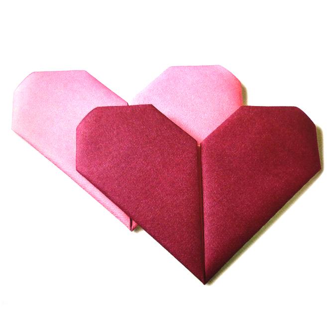 Serviettes origami coeur orchidée rose par 12