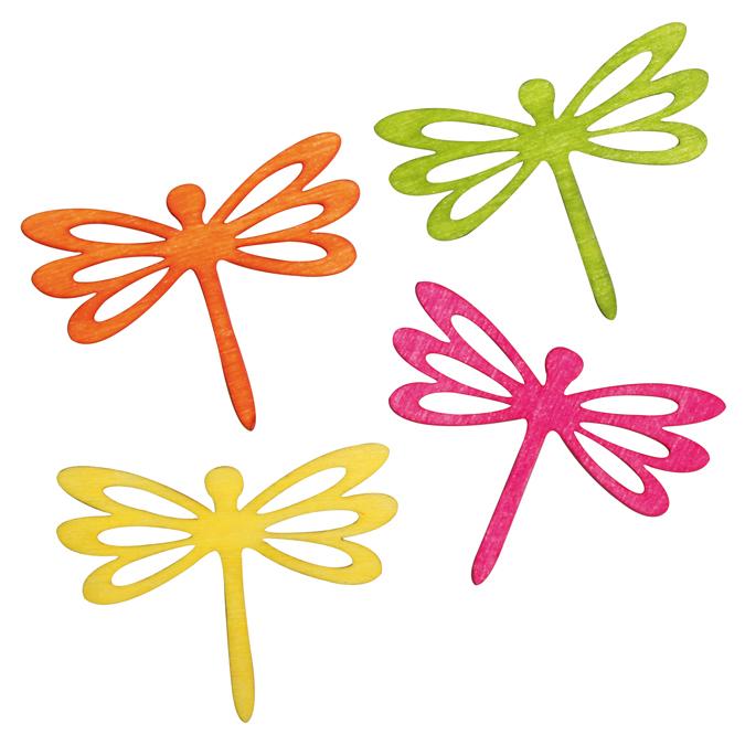 Miniature en bois libellule par 4 - couleurs assorties