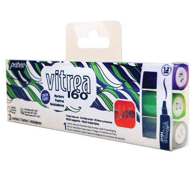 Feutre Vitrea 160 pointe normale set de 3 couleurs effet dépoli