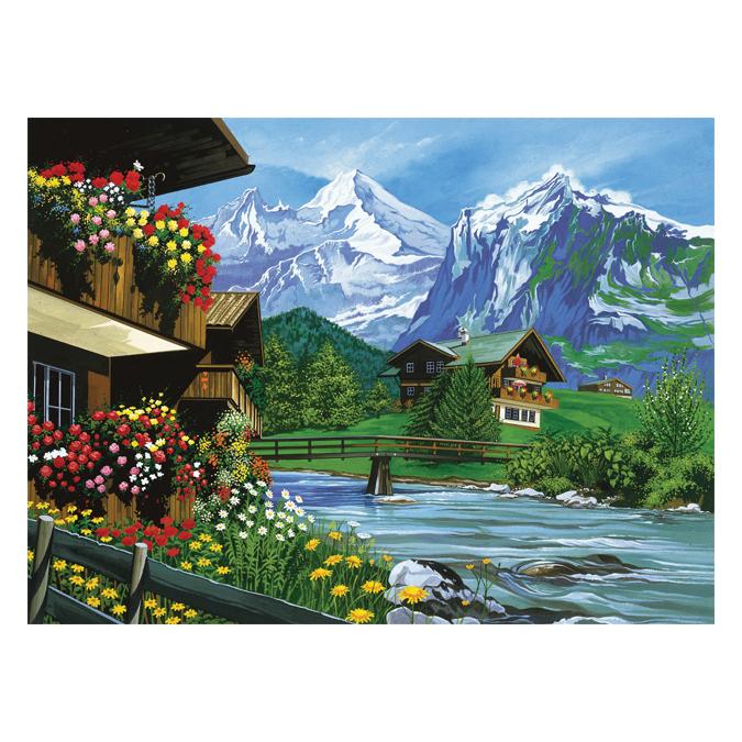 Peinture au numéro paysage de montagne 30 x 40 cm