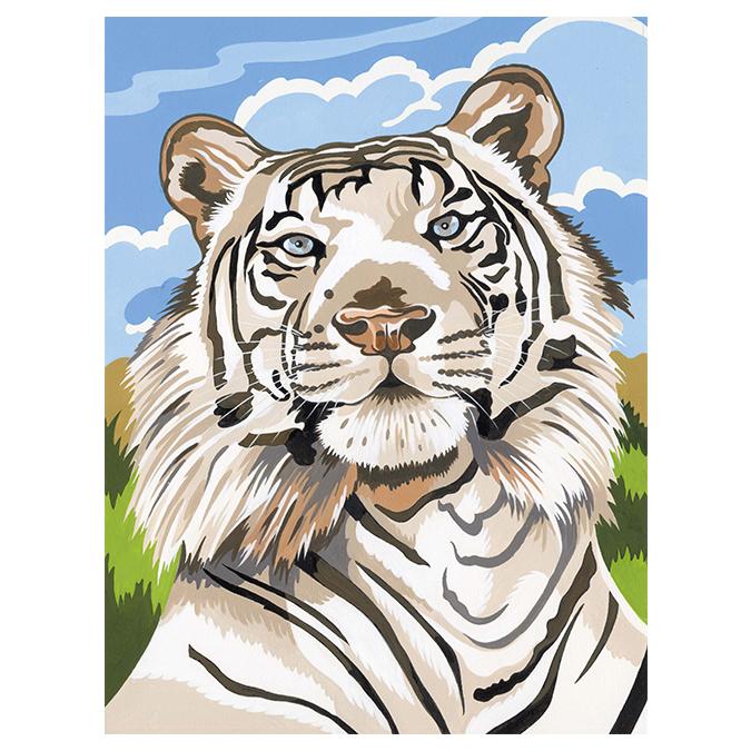 Peinture au numéro tigre blanc 24 x 34 cm