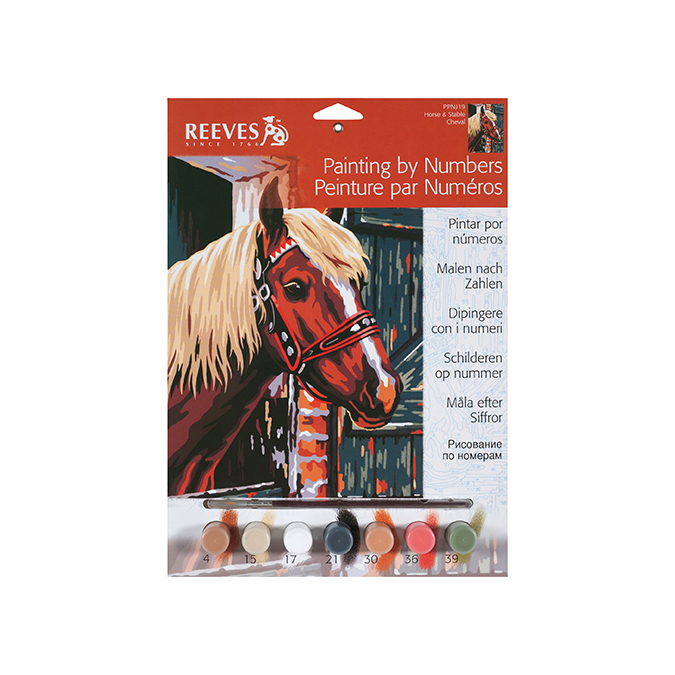 Peinture au numéro cheval dans un box 24 x 34 cm