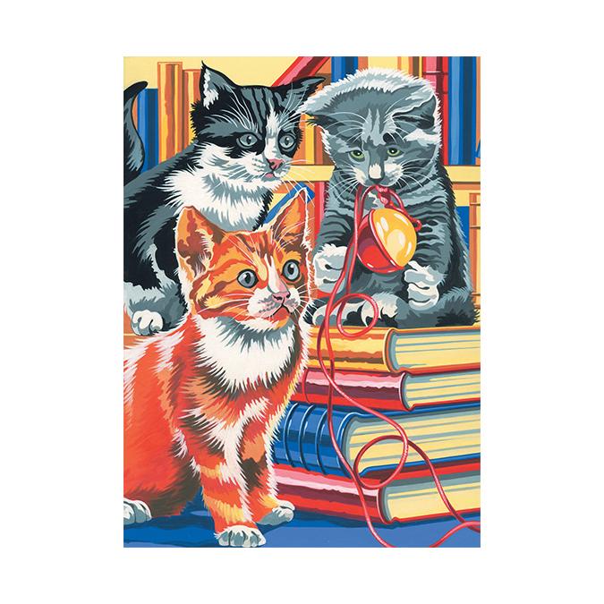 Peinture au numéro chatons joueurs 24 x 34 cm
