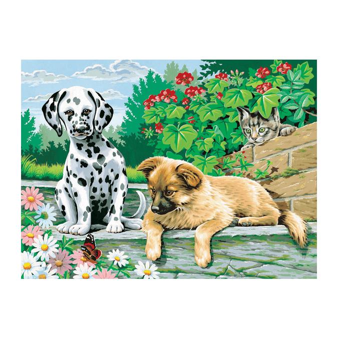 Peinture au numéro chien et chat 30 x 40 cm