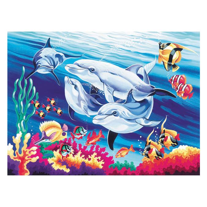 Peinture au numéro dauphin 30 x 40 cm