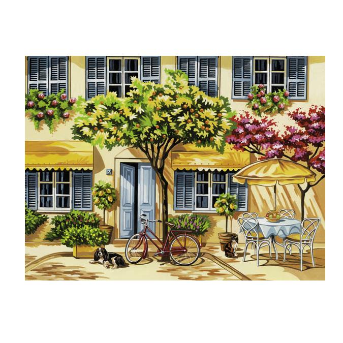 Peinture au numéro maison fleurie 30 x 40 cm