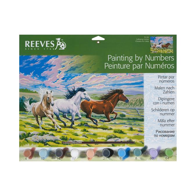 Peinture au numéro cheval au galop 30 x 40 cm