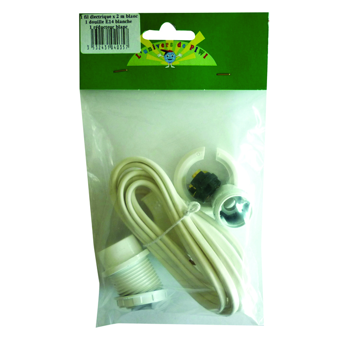 Kit de fil électrique blanc 2 m + douille E14