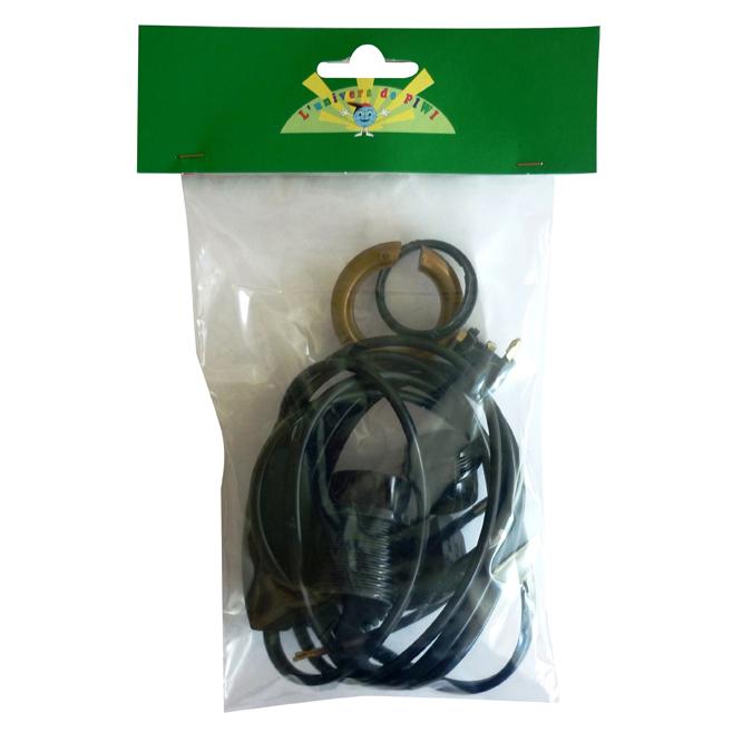 Kit de fil électrique noir 2 m + douille E14