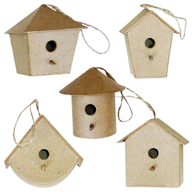 Petite maison d'oiseau à suspendre en papier mâché 5 cm