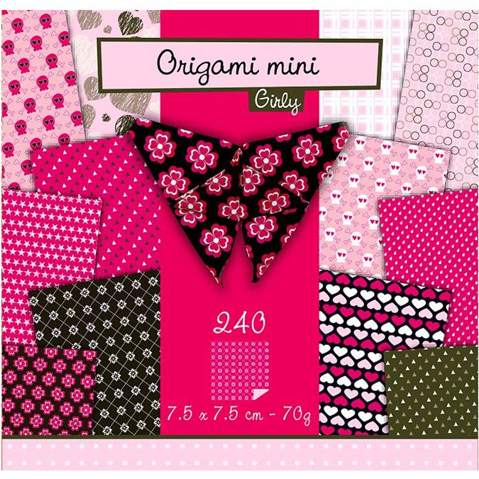 Papier origami Roses 240 feuilles 7,5 x 7,5 cm - 70 g/m²