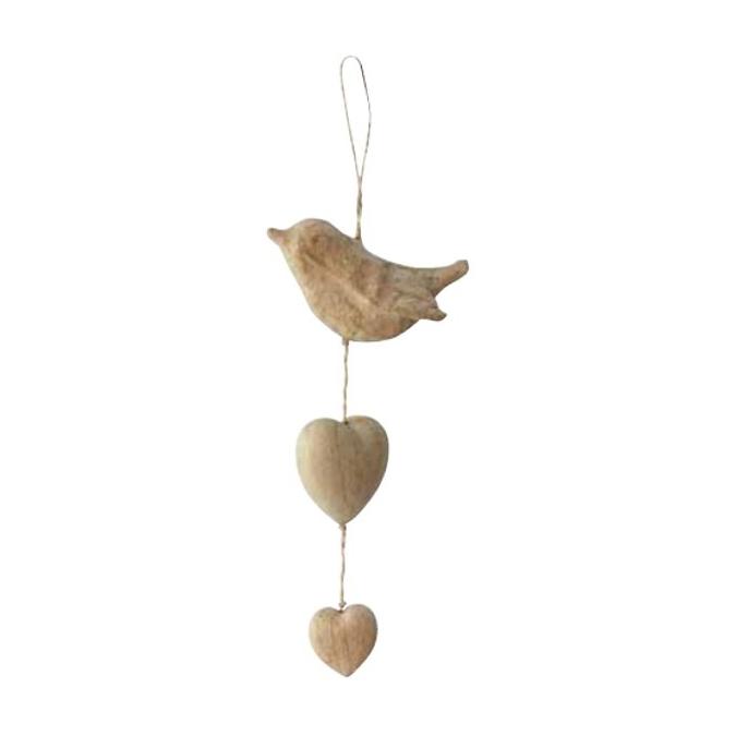 Oiseau et cœur à suspendre en papier mâché