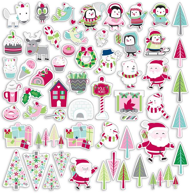 Découpes en papier Formes Noël au Pôle Nord 56 pièces