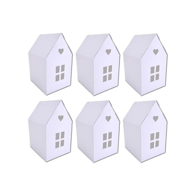 Maisonnettes en papier cartonné blanc à assembler 6 pièces