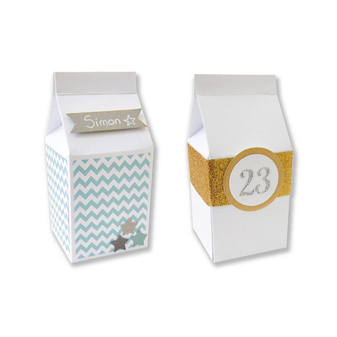 Boîtes à lait en papier cartonné blanc 5,5 x 7cm 6 pièces