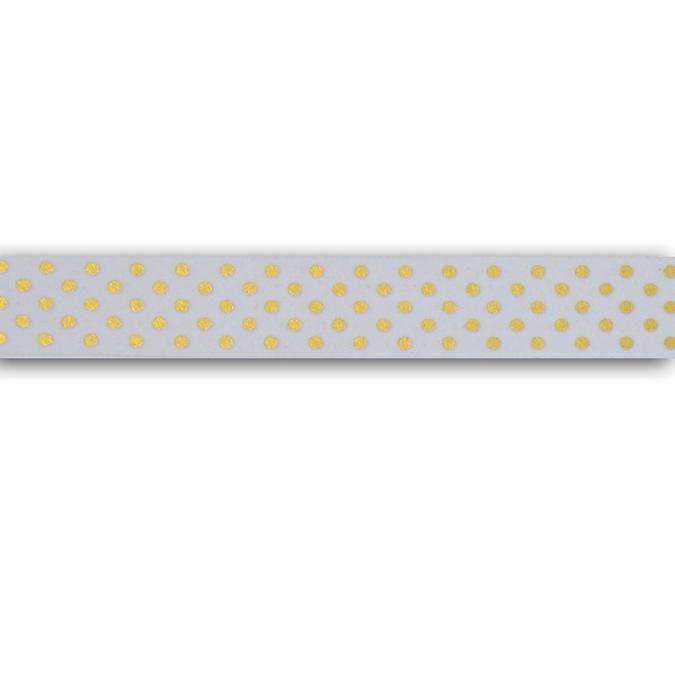 Masking tape blanc à pois or 1,5 cm x 10 m