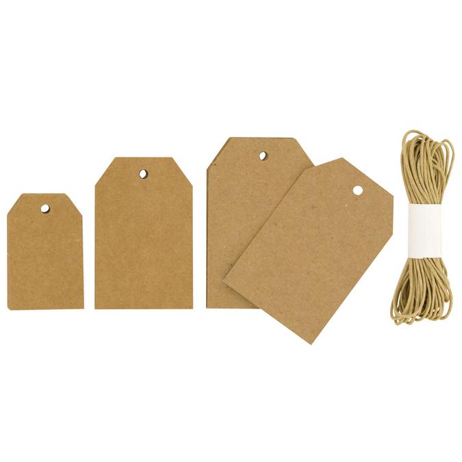 Set de 30 tags forme géométrique et 3 mètres de cordelette, brun