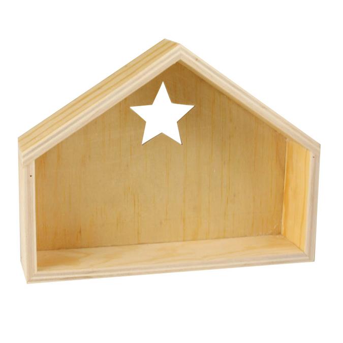 Crèche en bois avec découpe en étoile