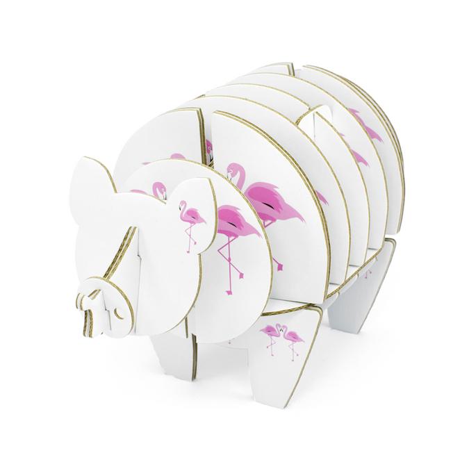 Cochon à monter en carton motifs flamant rose taille S