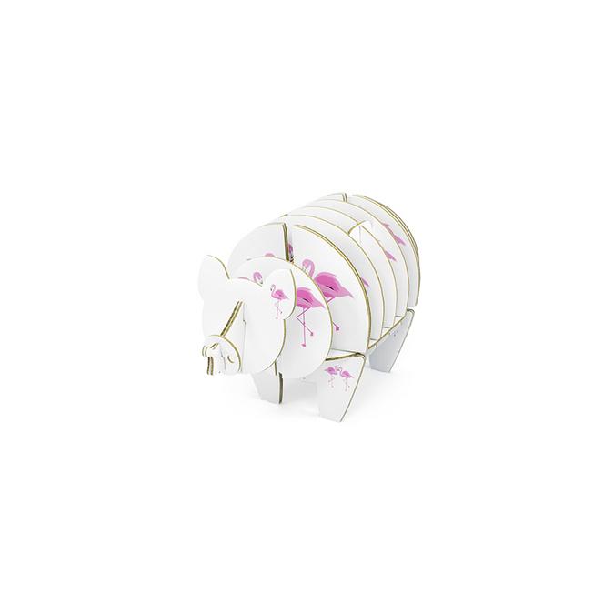 Cochon à monter en carton motifs flamant rose taille XS