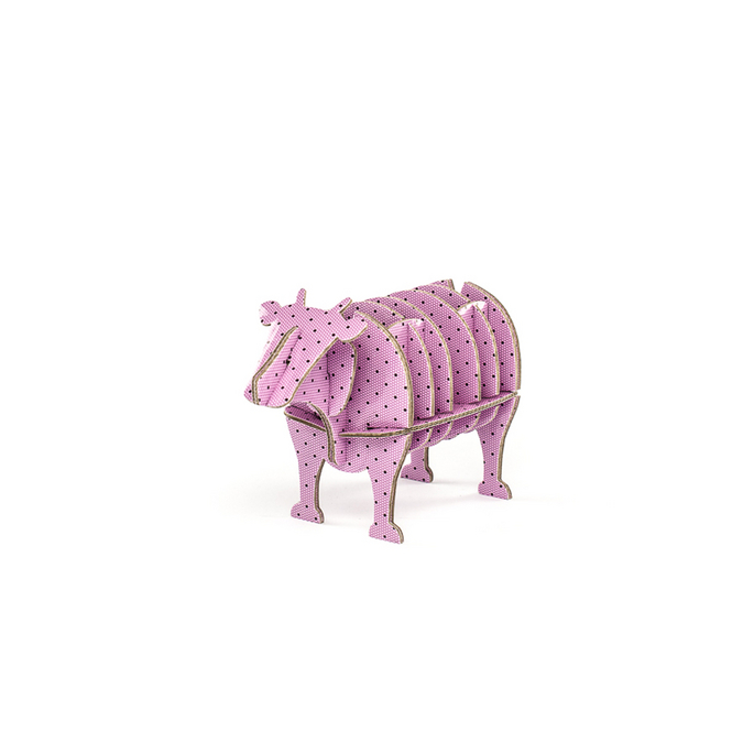 Vache à monter en carton motifs à pois taille XS