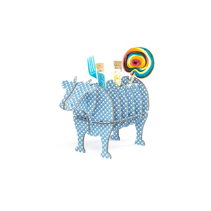 Vache à monter en carton motifs art déco taille S