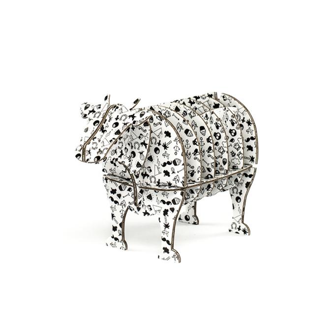 Vache à monter en carton motifs tatoo taille S