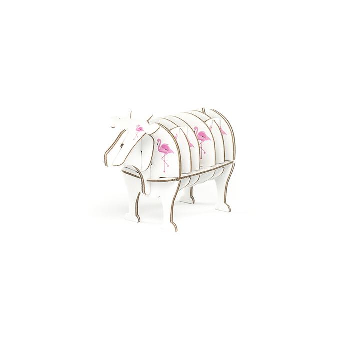 Vache à monter en carton motifs flamant rose taille XS