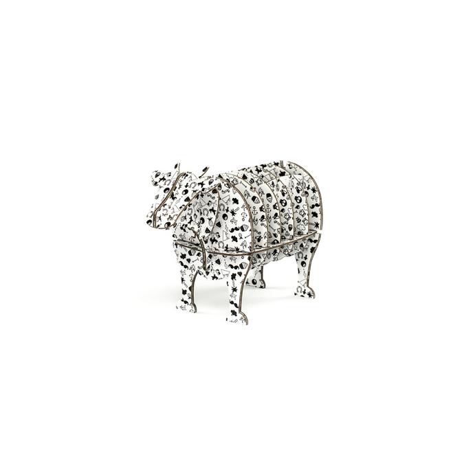 Vache à monter en carton motifs tatoo taille XS