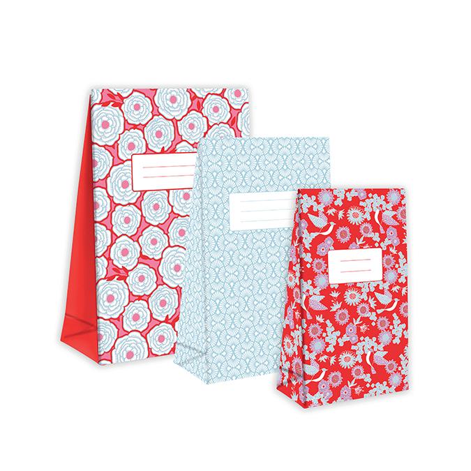 Sac en papier pour cadeau motif Sakura par 3
