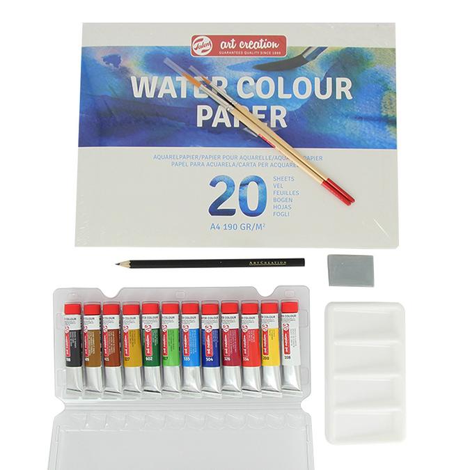 Peinture aquarelle ArtCreation 12 x 12 ml + accessoires