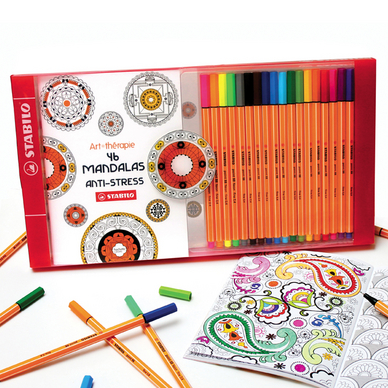 Coffret de coloriage anti-stress Pen 88 + 1 carnet à colorier