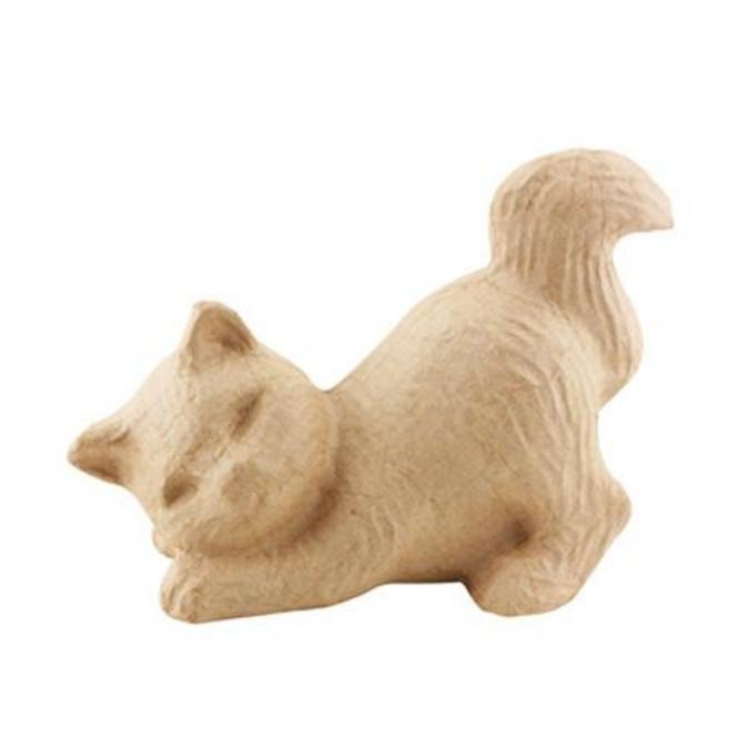 Objet en papier mâché chat songeur