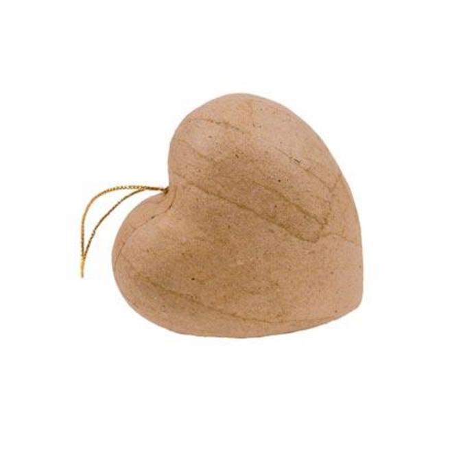 Objet en papier mâché 10 cœurs avec cordon 4 cm